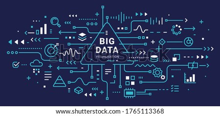 Big data visualization connection complex with icon. Vector abstract technology illustration of data array visual on dark background with word. Line art style design of graphic element for web banner