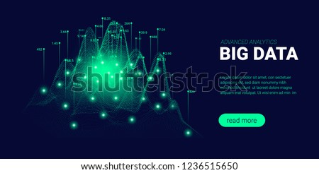 Big Data Visualization. Energy Stream Concept. Landing Page Futuristic Template with Big Data Analysis. Abstract Technology Background with Glow and Movement Effect. Process of Big Data Sorting.
