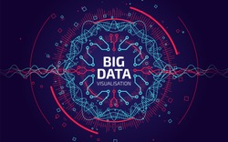 Big data visualization. Fractal element with lines and dots array. Big data connection complex. Data array visual concept. Graphic abstract background. Vector illustration