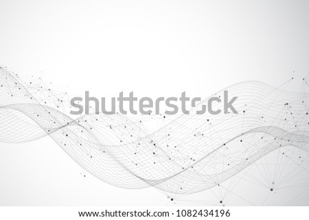 Big data visualization. Graphic abstract background communication. Perspective backdrop visualization. Analytical network visualization. Vector illustration