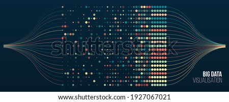 Big data visualization. Information analytics concept. Abstract stream information with ball array and binary code. Filtering machine algorithms. Sorting data. Vector technology background.