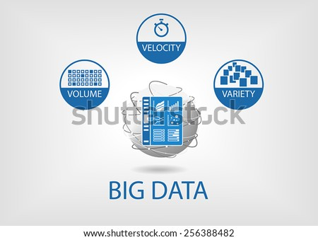 Big data volume, velocity and variety with analytics dashboard. Flat design vector illustration in blue and grey with flat design and business intelligence universe represented as globe.