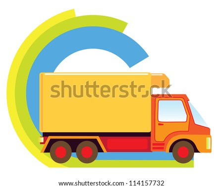 Big delivery truck in a delivery sign