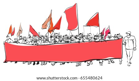 Big demonstration with flags and placates. Isolated on white background