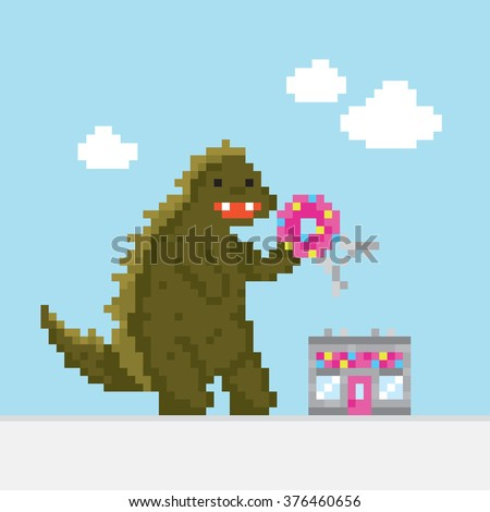big dinosaur attacking donut