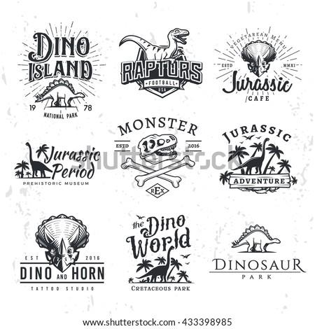 big dinosaur vector logo set