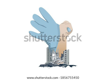 Big disasters in Izmir Turkey from Aegean earthquake 6.6 Richter at Samos, Greece.Get well soon for izmir (Translation: Gecmis olsun izmir) vector illustration. Stok fotoğraf ©