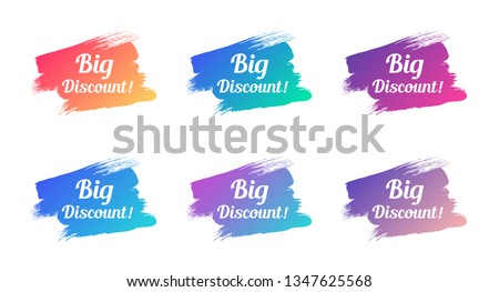 big discount color promo phrase. big discount stock vector illustrations with painted gradient brush strokes for advertising labels, stickers, banners, leaflets, badges, tags, posters #1347625568
