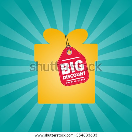 Big discount sticker on box isolated vector illustration. Super sale tag, special offer discount promo, advertisement retail label, exclusive shopping symbol. Modern colorful graphic style offer sign