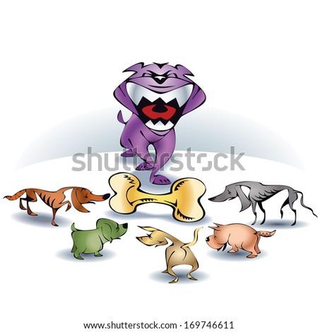 Big dog small dogs with big bone