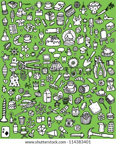 Big Doodle Icons Set : collection of numerous small hand-drawn illustrations (vignette) in black and white: No. 3