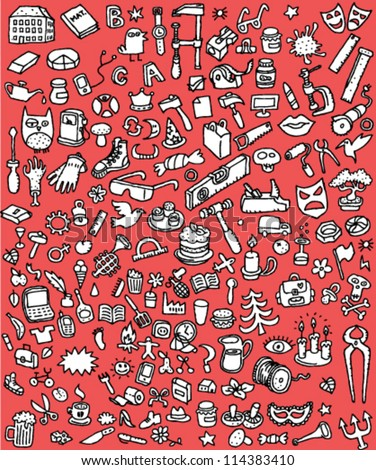 Big Doodle Icons Set : collection of numerous small hand-drawn illustrations (vignette) in black and white: No. 5