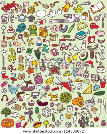 Big Doodle Icons Set : collection of numerous small hand-drawn illustrations (vignette) : No. 4