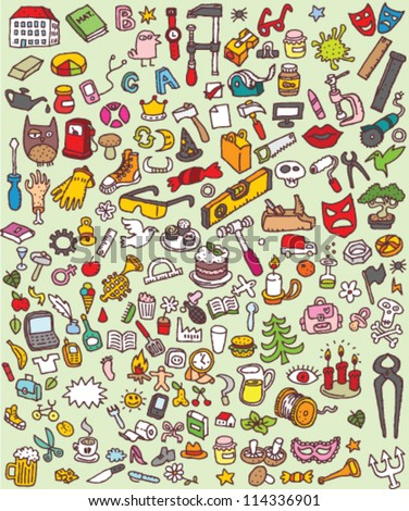 Big Doodle Icons Set : collection of numerous small hand-drawn illustrations (vignette) : No. 3