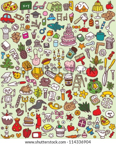 Big Doodle Icons Set : collection of numerous small hand-drawn illustrations (vignette) : No. 2