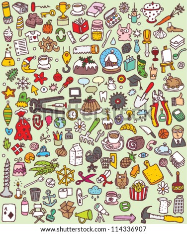 Big Doodle Icons Set : collection of numerous small hand-drawn illustrations (vignette) : No. 5