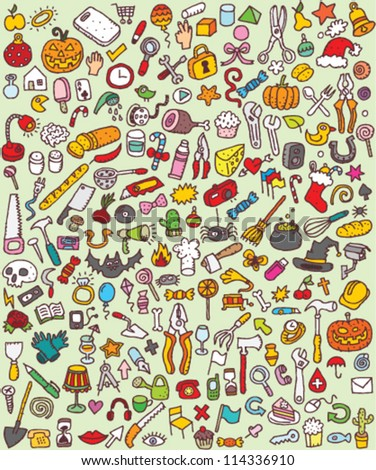Big Doodle Icons Set : collection of numerous small hand-drawn illustrations (vignette) : No. 8