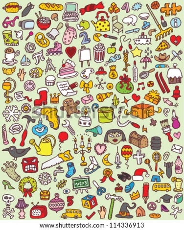 Big Doodle Icons Set : collection of numerous small hand-drawn illustrations (vignette) : No. 7