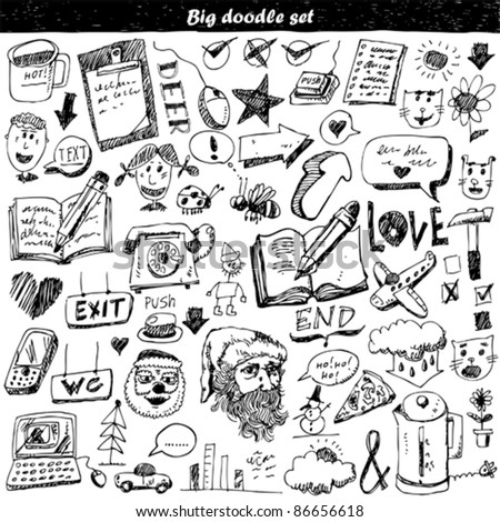 Big doodle set - stock vector
