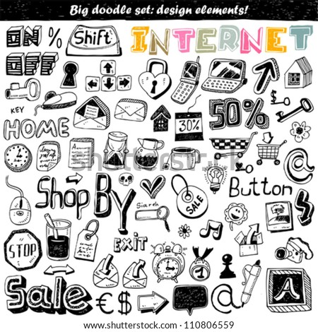 big doodle set - internet icon - stock vector