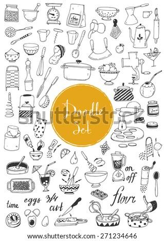 Big doodle set - Kitchen tools, cooking food