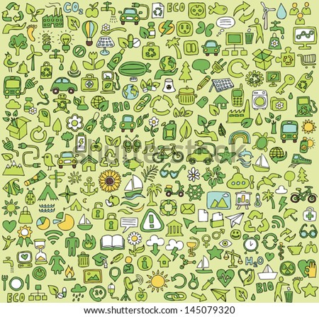 Big doodled ecology icons collection. Small hand-drawn illustrations are isolated (group) and in eps8 vector mode.