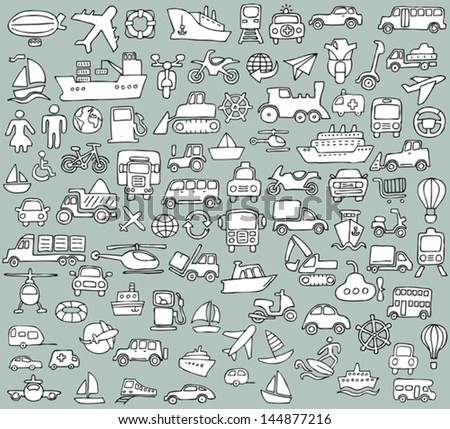 Big doodled transportation icons collection in black-and-white. Small hand-drawn illustrations are isolated (group) and in eps8 vector mode.