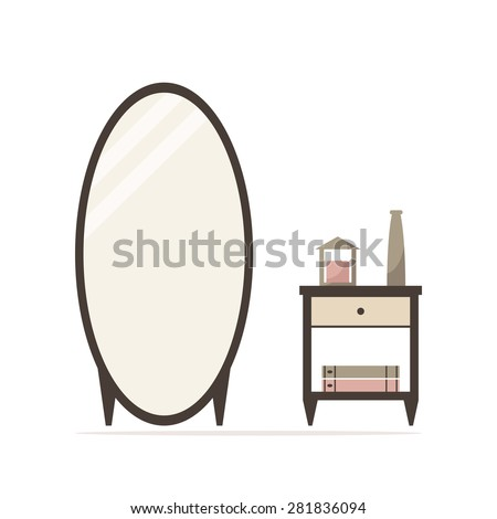 Big dressing mirror with nightstand isolated icon. Bedside table with candle, vase and books. Classic bedroom furniture. Bedroom interior design. Flat style vector illustration.