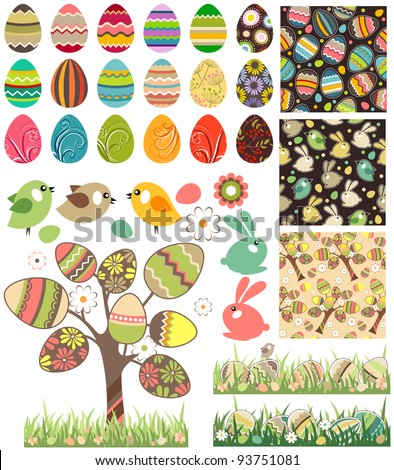 Big easter set with traditional eggs. Traditional detailed eggs, flowers,birds and rabbits. Contains 18 Easter eggs, one stylized tree, 3 seamless patterns and 2 seamless borders.