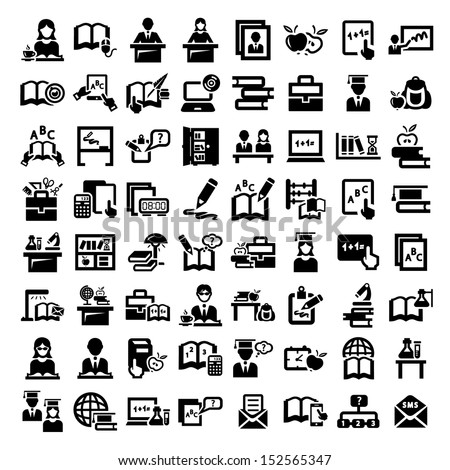 Big Elegant Vector Education And School Icons Set.