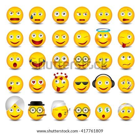 Big emotikons set. Emoji set on white background  Stock fotó ©