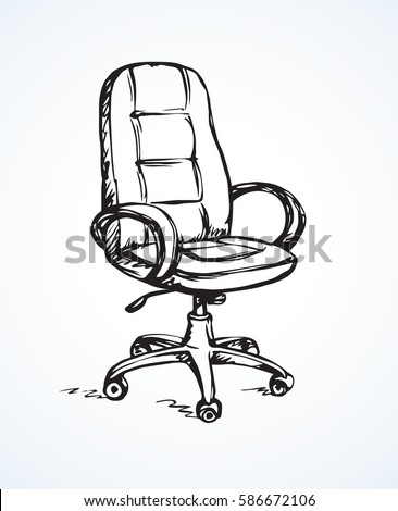 Big empty new soft mobile recliner isolated on white backdrop. Freehand linear dark ink hand drawn picture logo sketchy in retro art scribble style pen on paper. View closeup with space for text