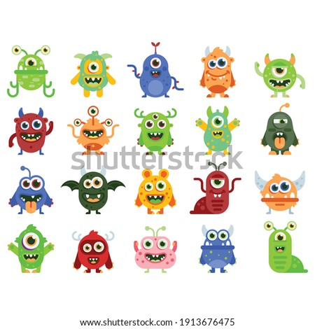 Big Eyed Monsters with Horns Expressing Emotions Vector Set. Monster colorful round silhouette icon set. Eyes, tongue, tooth fang, hands up. Cute cartoon kawaii scary funny baby character.