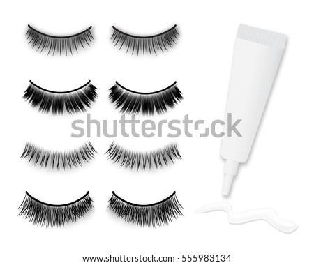 Big false eyelashes vector set and glue tube with stroke, isolated on white background.