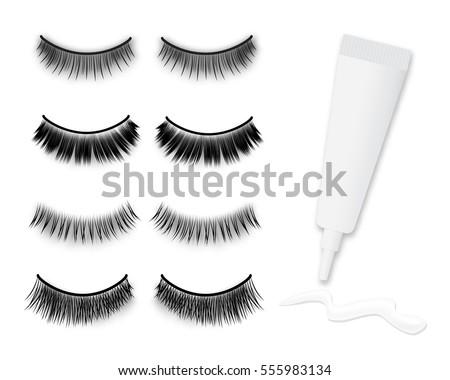 Big false eyelashes vector set and glue tube with stroke, isolated on white background.