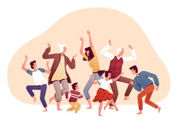 Big family dancing together. Happy parents, children and grandparents have fun, play and have a good time. Dancing at home. Family home entertainment