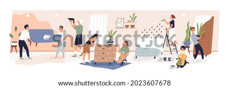 Big family during home repair. People making renovation of living room in apartment. Parents with kids redecorating house interior together. Flat vector illustration isolated on white background
