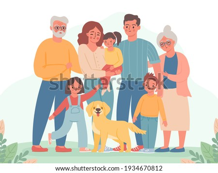 Big family. Happy parents, children, grandma and grandpa. Smiling dad, mom, kids and dog. Three generation standing together vector portrait
