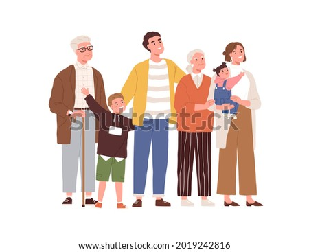 Big family looking up. Happy mother, father, children and grandparents standing together and watching for something. Excited kids with parents. Flat vector illustration isolated on white background