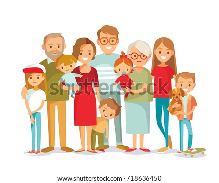 Big family portrait. Vector people. Mother and father with babies, children and grandparents. - Shutterstock ID 718636450