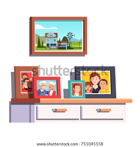 Big family relatives portrait photos frames standing on chest of drawers table top. Family house photo hanging in picture frame. Parents and kids relationship memento. Flat vector illustration.