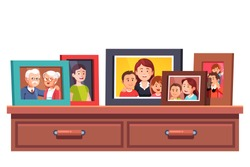 Big family relatives portrait photos frames standing on chest of drawers table top. Family Parents and kids relationship mementos in picture frames. Flat style vector illustration isolated on white.