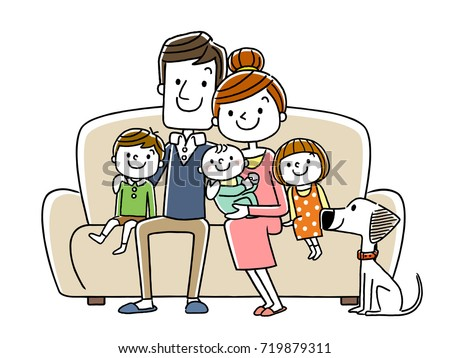 big family sitting on a couch
