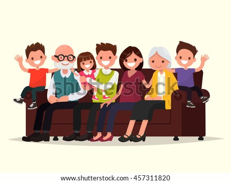 Big family sitting on the sofa. Grandfather, grandmother, father, mother and children. Vector illustration of a flat design
