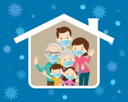 big family stay at home wearing a surgical mask to prevent virus Wuhan Covid-19 in house icon Grandfather,Grandmother,Dad, mother, son, daughter under the roof of the house.