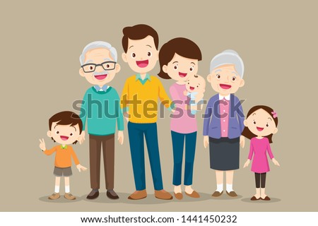 Big Family together. Group of people standing. Little boy, teenager girl, woman, man, old man, senior woman,Father, mother, sister, brother, grandfather, grandmother