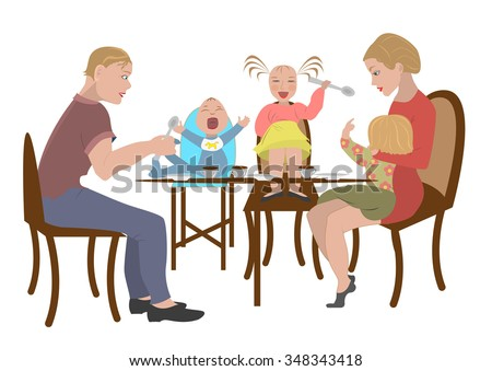 Big Family Together Happy Eats In Restaurant Mother Father Son Daughter