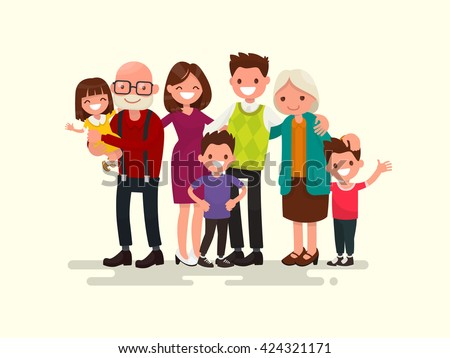 Big family together. Vector illustration of a flat design - Shutterstock ID 424321171