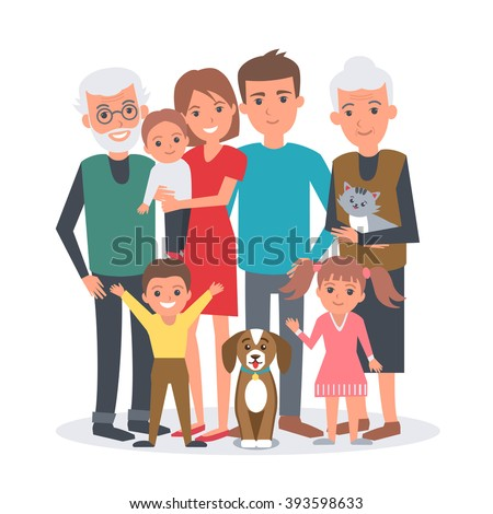 Big family vector illustration. Big family with children, parents, grandparents and pets. Family portrait isolated on white background.