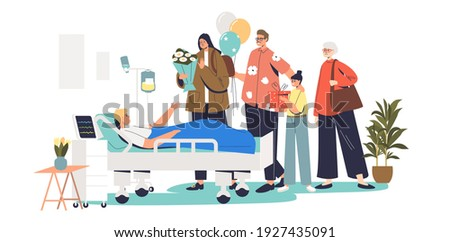 Big family visiting sick son in hospital. Patient and visitor in intensive therapy hospital ward during visit to ill boy at recovery or therapy. Cartoon flat vector illustration Photo stock ©